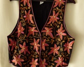 Vtg 80's 90's S/M India Black hand made folk Floral pink Coral bohemian ethnic hippie gypsy embroidered vest