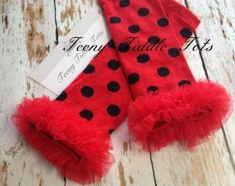 Polka Dot Leg Warmers, Baby Leg Warmers, Red Leg warmers with ruffles, Lady Bug Leg Warmers