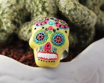 Sugar Skull Adjustable Ring Day of the Dead Psychobilly Rockabilly