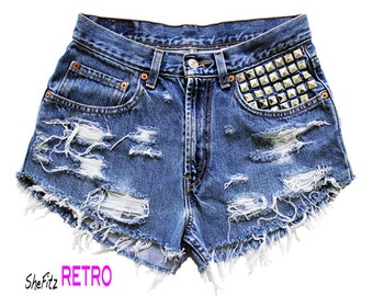 ALL SIZES Levis High Waisted Studded Distressed Frayed Cut Off Shorts
