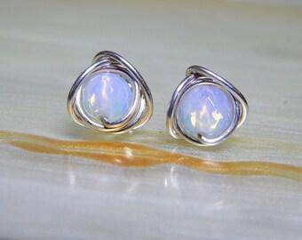 Opalite Stud Earrings, Small Post Earrings, Opalite Earrings, Sterling Silver, Everyday Jewellery, Gifts, Wife Gift