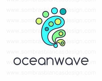 OOAK Premade Logo Design - Teal Blue Ocean Wave Surf Clothing