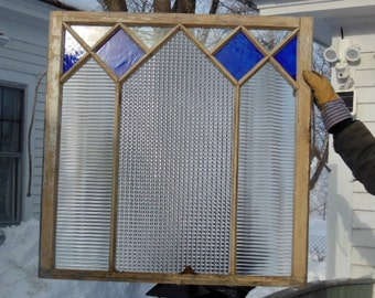 Antique Mission cobalt blue stained glass window w/clear reeeded & x-reeded rippled privacy glass offers considered