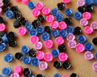 CLOSEOUT - 40 pc. Tiny Multi-Colored Flower Cabochons 6mm | RES-433
