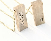 Ode Geometric Raw Brass Gold Bar Necklace Women's Personalized  Zip Code Initial Jewerly, Long  Rustic Layering Sweater Necklace