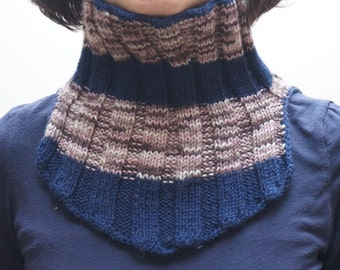 Neckwarmer brown navy blue wool knit knitted Infinity Loop Shawl scarf  circular cable handmade ready to ship cowl unisex man woman children