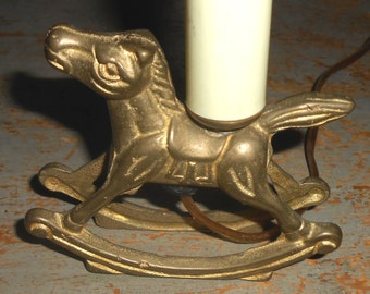 Vintage Night Light, Brass, Rocking Horse, Solid Brass, Horse, Pony, Brass Horse, Nursery Room, Lamp, Brass Decor, Child's Room
