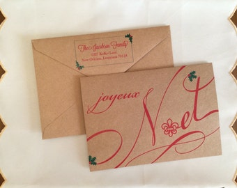 Joyeux Noel Fleur de Lis Greeting Cards with Decorative Return Address