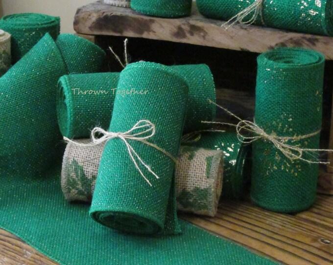 "Burlap Ribbon Green 5in. Wide ""Green Sparkle Metallic"" Christmas Ribbon -Christmas Garland-Burlap Bows-Christmas Decor-Holiday-Wreaths"