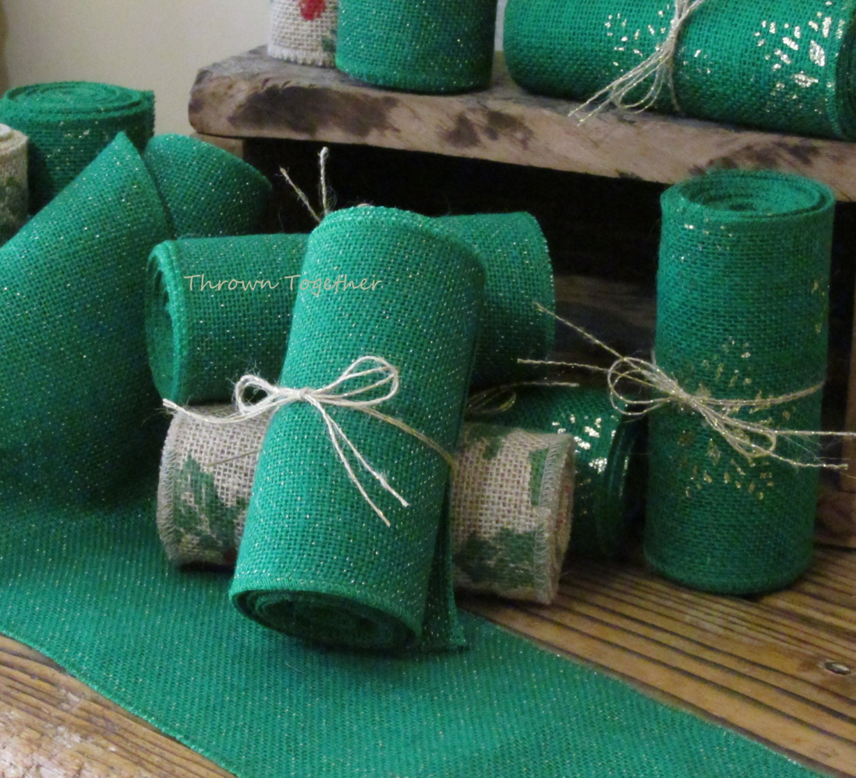 Burlap ribbon green 5in wide green sparkle for Green burlap ribbon
