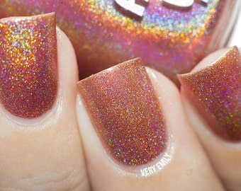 Holographic - Rusty But Ready:  Custom-Blended Glitter Nail Polish / Indie Lacquer / Polish Me Silly