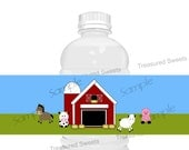 PRINTABLE Farm Barnyard Animals Water Bottle Labels Editable Childrens Birthday Party Favors Drink Wrappers Covers Instant Download TSW07