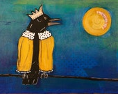 Original Painting Raven in King's Robe talking to the Lucky Moon