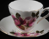 Fine China Roses Cup and Saucer, Collectible Grosvenor bone china