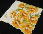 Vintage Handkerchief, Yellow Flowers on White - Never Used Collectible Hankie - Craft, Framing,  or Sewing Hankie Lot Q-28