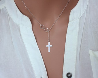 Infinity Cross Lariat Necklace, Sterling Silver / 14k Gold Fill Cross Necklace, Silver Cross Lariat Necklace, Cross Necklace, Religion