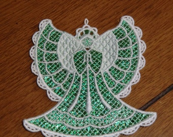 Embroidered Magnet - Christmas - Mylar Angel Green/White