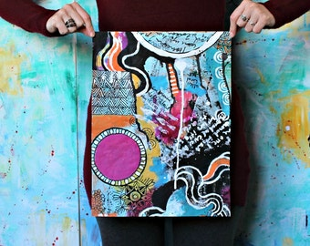 Anything you want -  blue pink orange original mixed media painting funky doodle art acrylic collage art