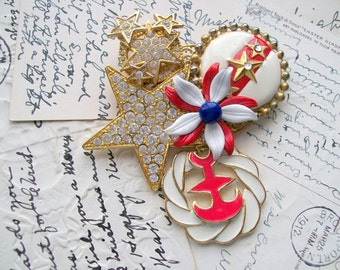 Patriotic Collage Pin/Brooch - Recycled - Vintage - Summer