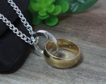 Sterling Silver Ring Holder Necklace COUPLE Ring Holder