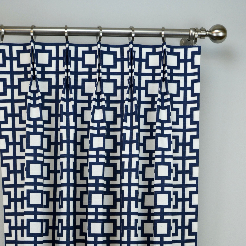 Navy blue white modern sqares gigi geometric trellis curtains for Blue and white drapery panels