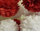 Tissue Paper Pom poms - Red White - Set of 8 Poms