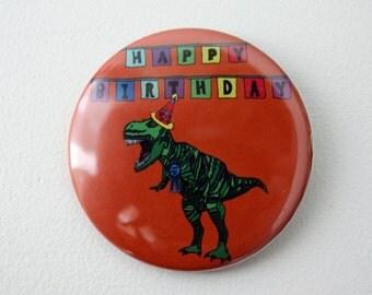 Dinosaur Birthday Badge T-Rex Jurassic Park badge Jurassic World badge