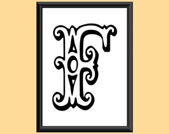 Typography DIGITAL PRINT Monogram Initial Wall Art Tropicana Letter F 5x7