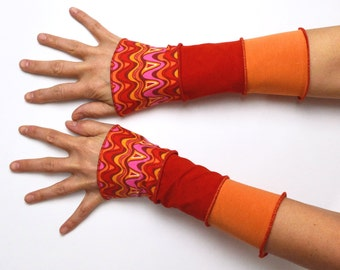 Mittens Arm Warmers spring 3 colours Wrist Warmers patchwork cotton orange red