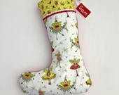 Fairy Christmas Stocking - can be personalised - Red Green Silver