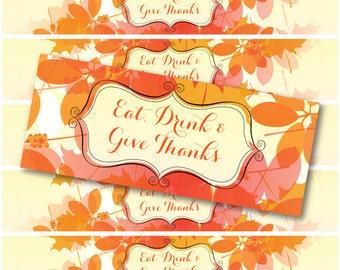 25 Thanksgiving Water Bottle Labels - WATERPROOF