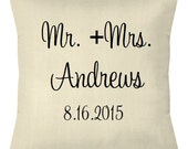 SALE Mr. and Mrs. Pillow Cover Anniversary Wedding Gift