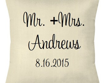 Mr. and Mrs. Pillow Cover Anniversary Wedding Gift