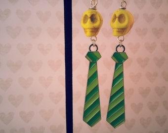 Yellow Skulls 'n Green Ties Earrings, Day of the Dead, Halloween Jewelry, Skull Earrings, Halloween Earrings,