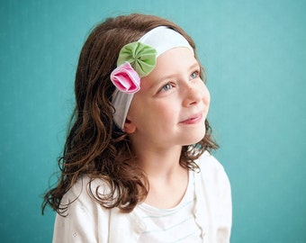 Ema Jane - Shabby Chic Headband (Bubblegum Pink Spring Rose on White)