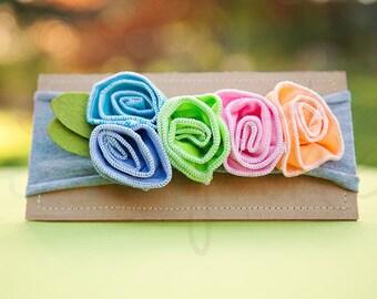 Ema Jane - Shabby Chic Headband (Candy Rainbow Roses on Light Gray)
