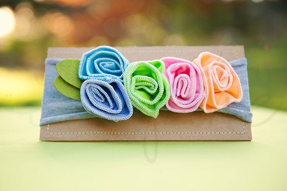 Ema Jane - Shabby Chic Headband (Candy Rainbow Roses on Light Gray)