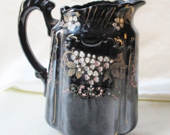 1892 Johnson Brothers Hand Decorated Pitcher,Floral Motif. Housewarming Gift, Thank You Gift, Earth Day Gift, Collectible,