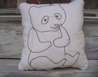 Brown Bear  Embroidery Pillow With Quilt Backing