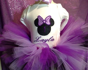 Purple minnie mouse birthday tutu outfit with embroidered shirt and hair clip