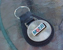 Classic Mobil Gasoline Petrolenia Collector Unique Leather Key Fob Handcrafted in USA