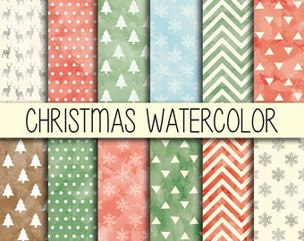 Christmas Watercolor - Xmas backgrounds - Instant download - Christmas wrapping - Digital Paper Pack - Set of 12 Digital Papers - 12x12 inch