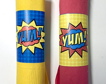 Superhero Napkin Wraps • No Customization • PRINTED