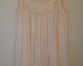 Chiffon on lingerie top with pleats size medium
