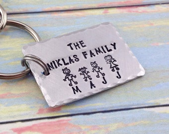 Personalized Stick Figure Family Keychain - Hand stamped