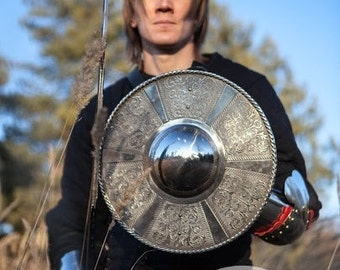 DISCOUNTED PRICE! Medieval Battle Etched Shield; Large Viking Shield; Stanless steel shield; Buckler Shield