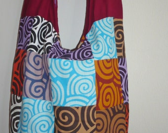 Hobo Cross Body Bag, Sling bag, Hobo Bag  Purse Thai Printed Cotton Patchwork