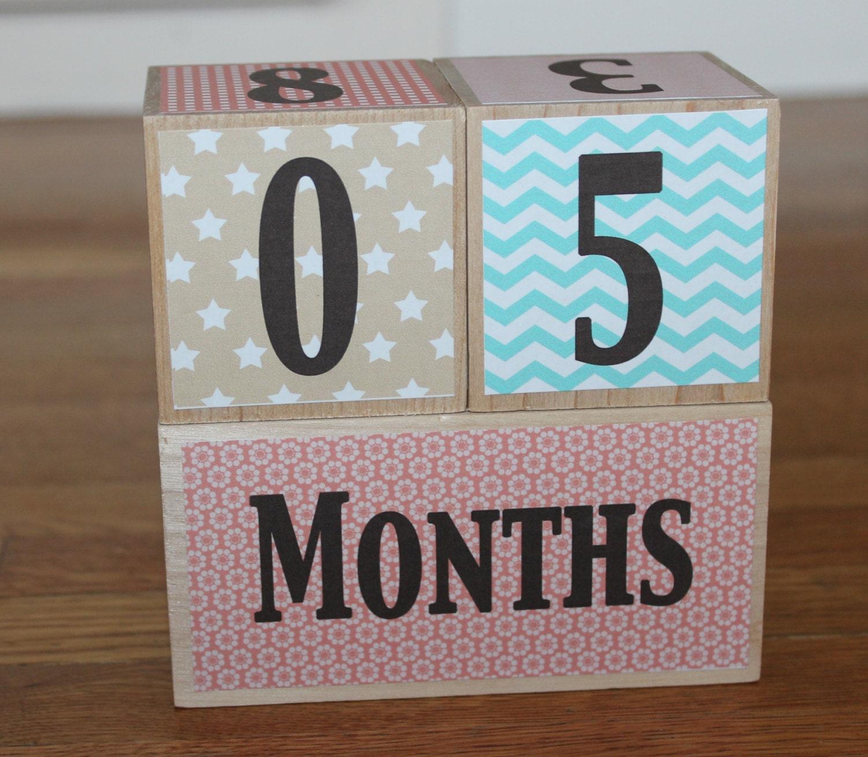 Wooden Baby Milestone Blocks graphy Prop Watch Me Grow