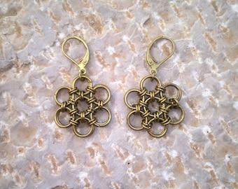 Chainmail flower design brass earrings