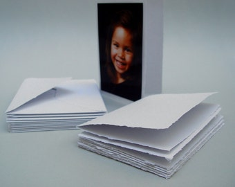 White blank cards with envelopes, handmade recycled paper, 4.5x6.5 inches, set of 10